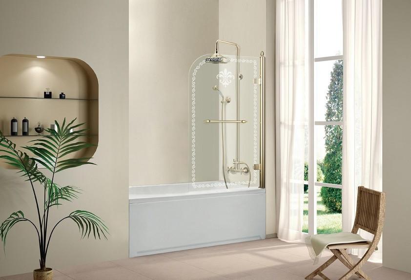Шторка для ванны Cezares Retro 81 см прозрачное c матовым узором стекло RETRO-A-V-1-80/145-CP-G-R шторка для ванны cezares retro retro a v 1 80 145 cp g l