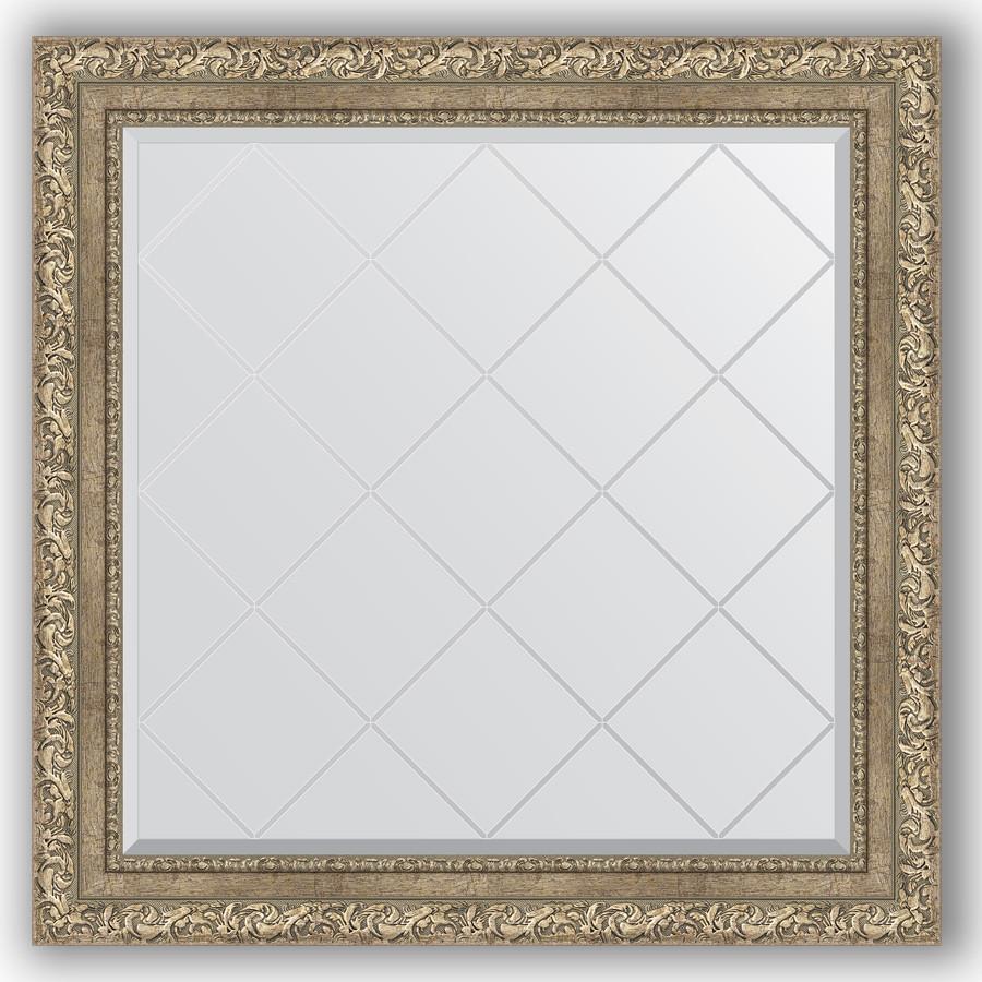 Зеркало 85х85 см виньетка античное серебро Evoform Exclusive-G BY 4315 зеркало evoform exclusive g 72х55 виньетка античное серебро