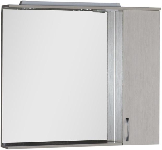 Зеркальный шкаф 100х87 см с подсветкой белый дуб Aquanet Донна 00169184