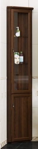 Пенал напольный угловой орех антикварный матовое стекло Opadiris Клио Z0000004279