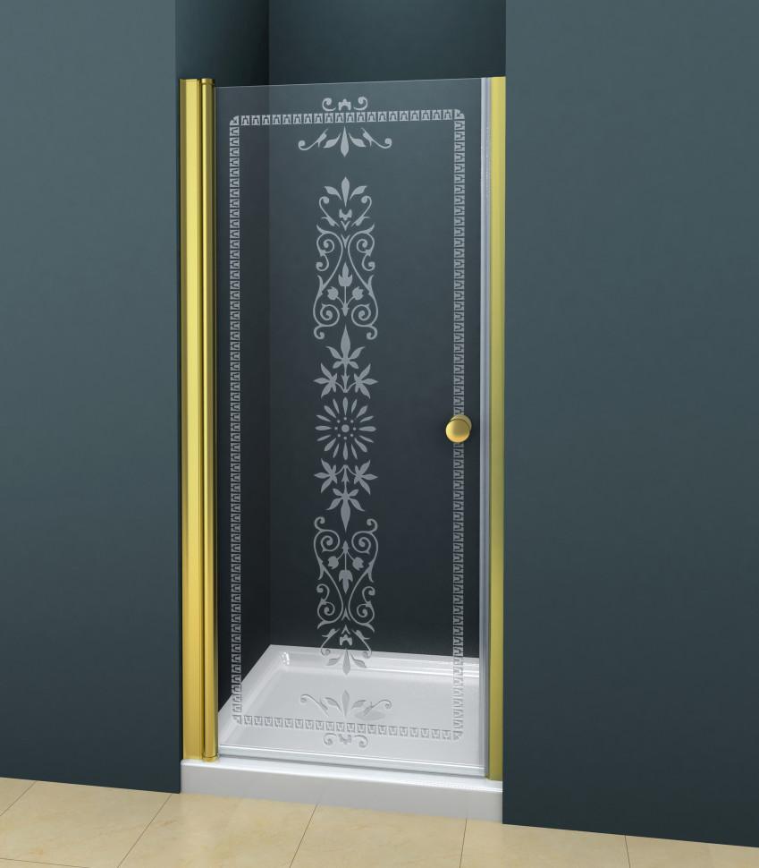 Душевая дверь распашная Cezares Royal Palace 90 см прозрачное с матовым узором ROYAL PALACE-A-B-1-90-CP-G