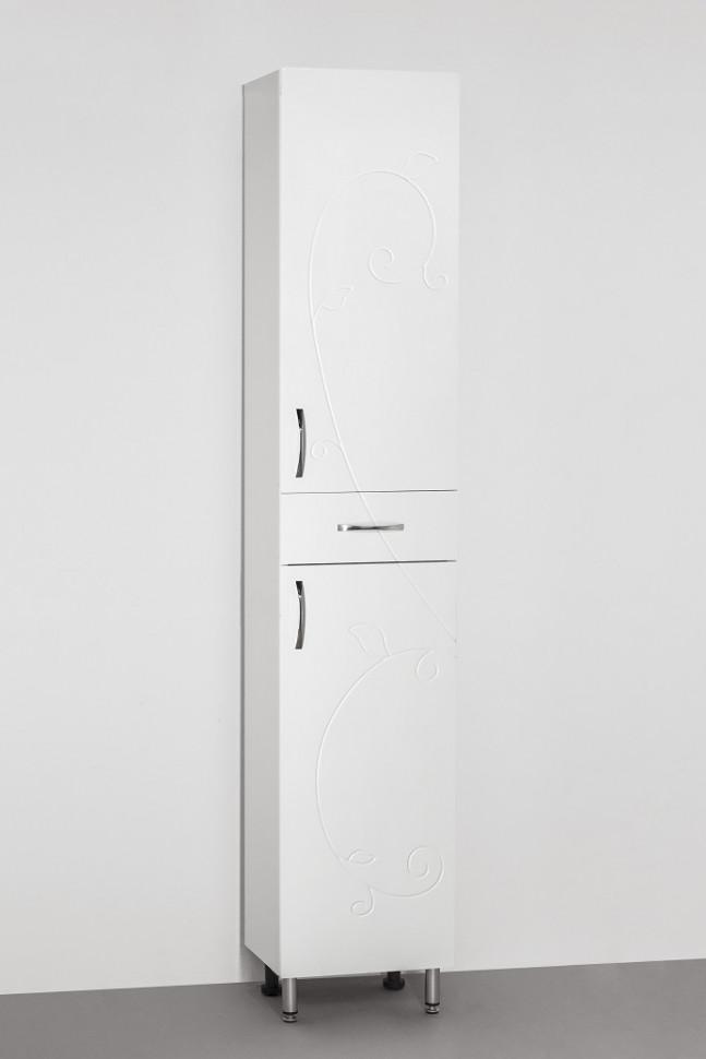 цена Пенал напольный белый глянец Style Line Фьюжн LC-00000257 онлайн в 2017 году