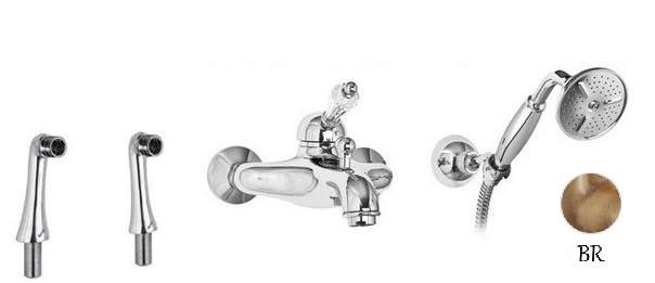 Смеситель на борт ванны бронза, ручка Swarovski Cezares Vintage VINTAGE-PBVM-02-Sw