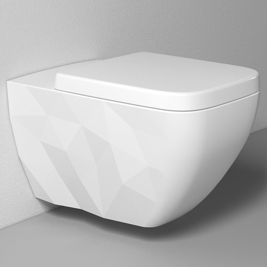 Подвесной безободковый унитаз с сиденьем микролифт Bien Kristal KRKA060N1VP0W3000 унитаз подвесной bien kristal безободковый с гигиеническим покрытием krka060n1vp0w3000