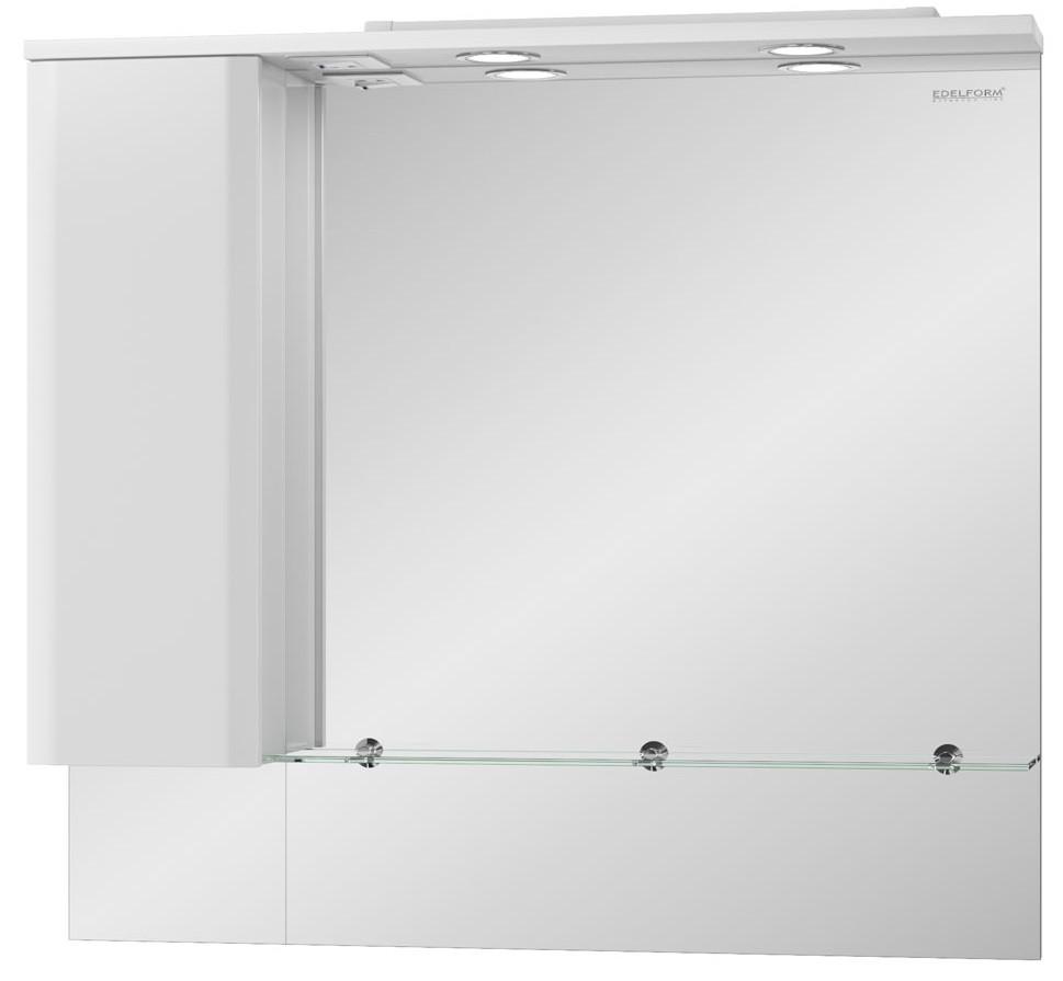 зеркальный шкаф edelform уника 100 белый с дуб гальяно 2 741 45 s Зеркальный шкаф белый глянец 95,2х86,8 см Edelform Amata 2-809-00-S