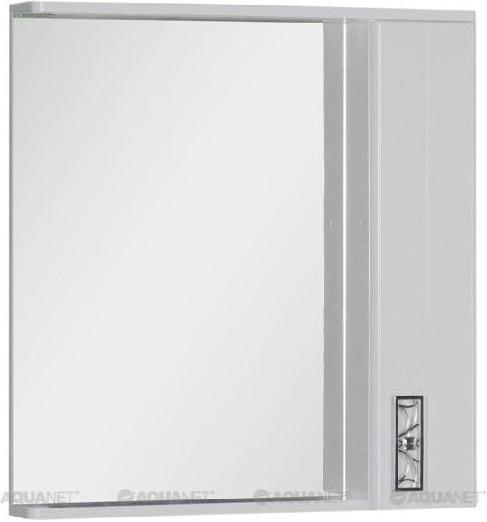 Зеркальный шкаф с подсветкой 80х87 см белый Aquanet Паллада 00175314