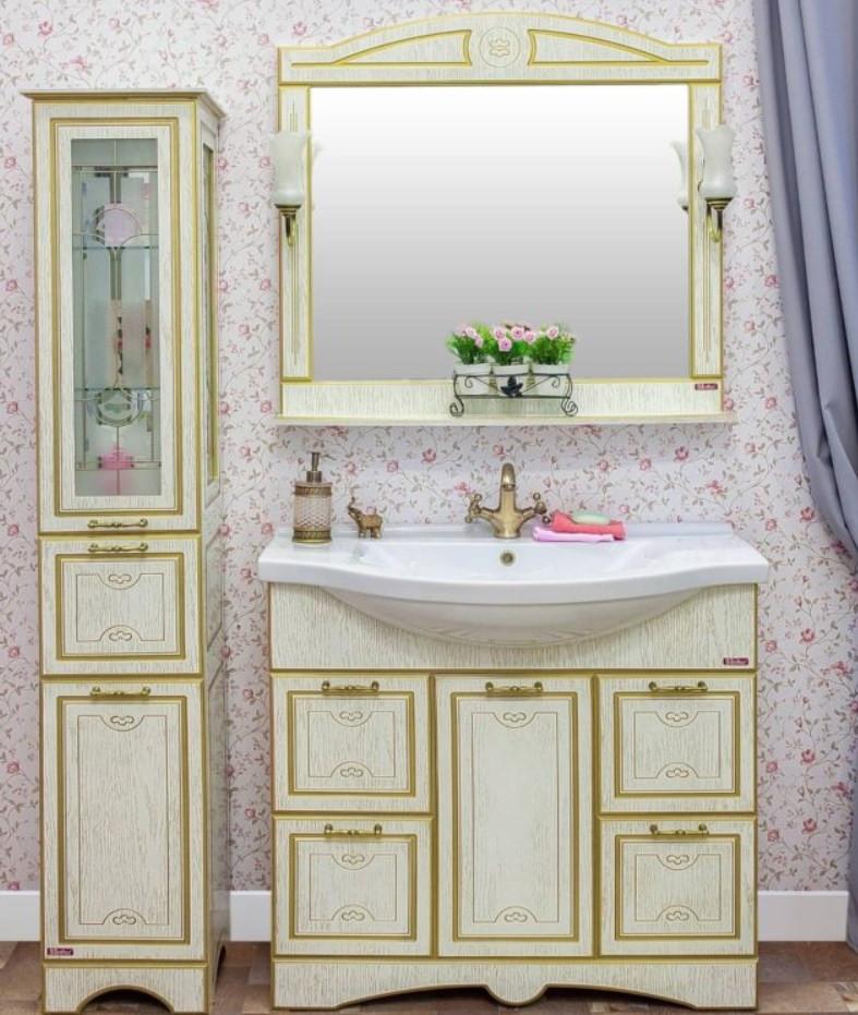 Фото - Тумба белый золотая патина 95,2 см Sanflor Адель H0000000665 зеркало 117 1х88 4 см белый золотая патина sanflor каир h0000000208