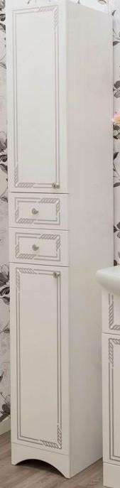 цена Пенал напольный белый серебряная патина L Sanflor Элен H0000000185 онлайн в 2017 году
